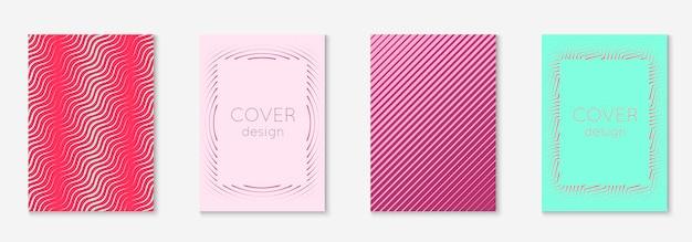 Elementos geométricos de linha. vermelho e verde. tela móvel dinâmica, banner, patente, conceito de papel de parede. elementos geométricos de linha no modelo de capa da moda minimalista.