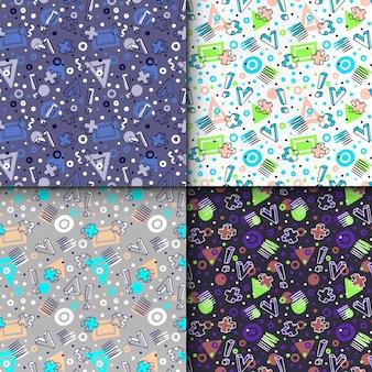 Elementos geométricos em estilo memphis, padrão sem emenda geométrico colorido definido.