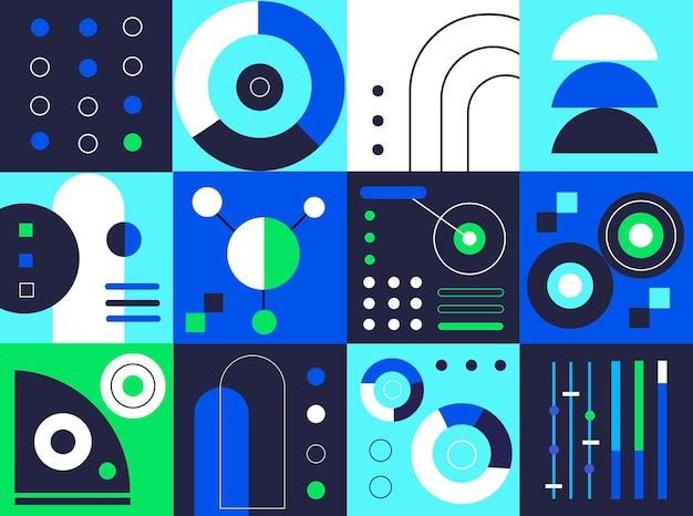 Elementos geométricos gradientes em azul e verde