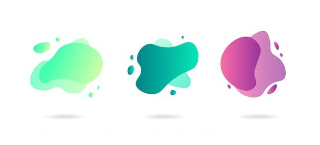 Elementos gráficos abstratos de gradiente dinâmico em estilo moderno. banners com formas fluidas de líquido, formas de ameba.