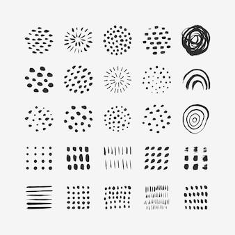 Elementos gráficos abstratos em estilo moderno mínimo. conjunto de vetores de textura desenhada à mão para a criação de padrões, pôsteres, cartões, postagens em mídias sociais e histórias