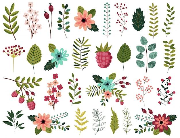 Elementos gráficos da mola ajustados com floral.