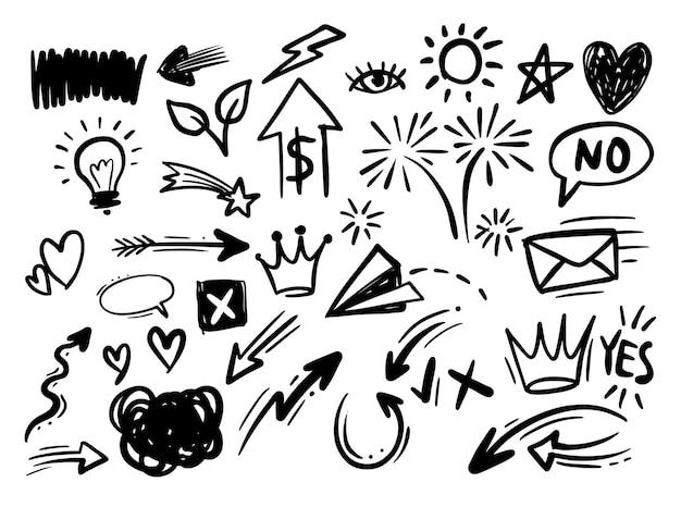 Elementos gráficos de design doodle desenhado à mão.
