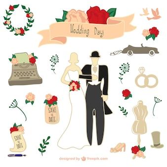 Elementos gráficos retros do casamento download gratuito