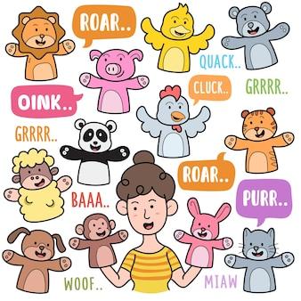Elementos gráficos vetoriais coloridos de fantoches de mão e ilustrações de doodle