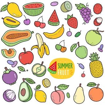 Elementos gráficos vetoriais coloridos de frutas de verão e ilustrações de doodle