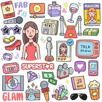 Elementos gráficos vetoriais coloridos de superestrelas e celebridades e ilustrações de doodle