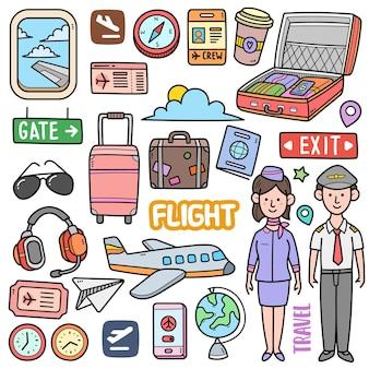 Elementos gráficos vetoriais coloridos de voo e ilustrações de doodle