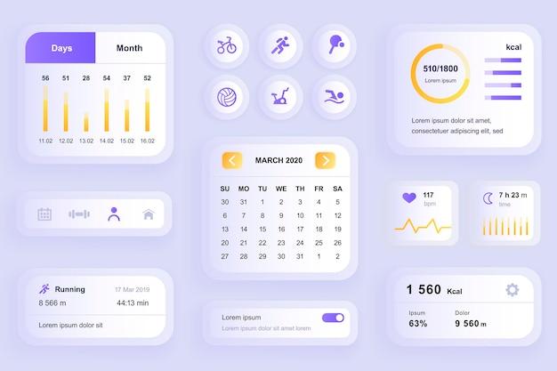 Elementos gui para aplicativo móvel de treino de fitness