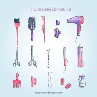 Elementos hairdresing watercolor set