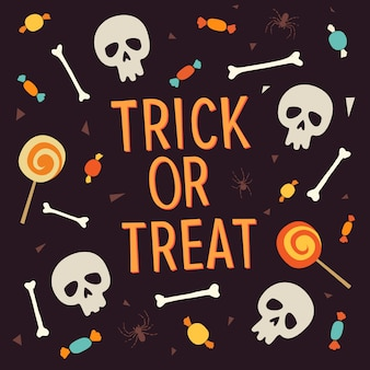 Elementos halloween. doçura ou travessura de inscrição é cercada por ossos, caveiras, doces, pirulitos, doces.