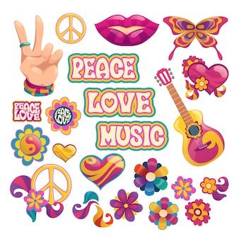 Elementos hippie com letras de paz, amor e música