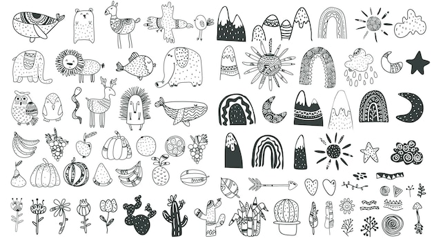 Elementos infantis escandinavos crianças fofos elementos boho animais plantas