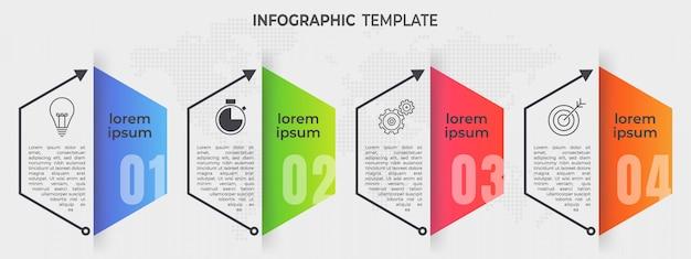 Elementos infográfico 4 opções. estilo de linha do tempo do hexágono.