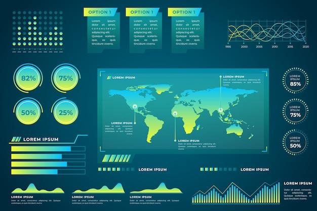 Elementos infográfico futurista