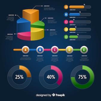 Elementos infográfico gradiente