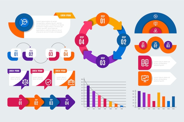 Elementos infográfico plana