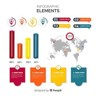 Elementos infográfico planas