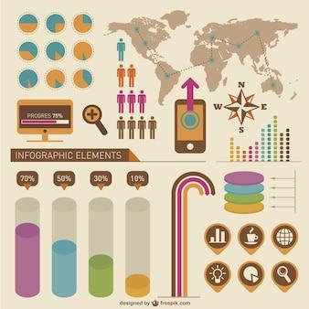 Elementos infográfico vetor livre conjunto
