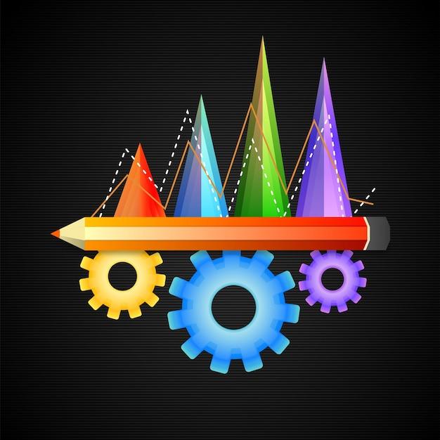 Elementos infográficos coloridos brilhantes, incluindo gráficos estatísticos, lápis e rodas dentadas para o conceito de negócio.