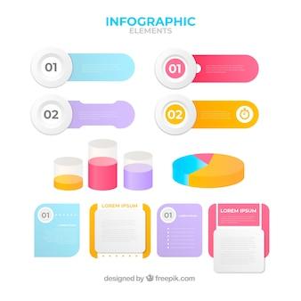 Elementos infográficos coloridos com efeito gradiente