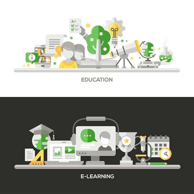 Elementos infográficos de design plano de linha moderna e banners de webdesign