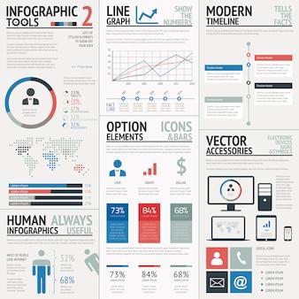 Elementos infográficos de vetor simples simples e azuis e vermelhos