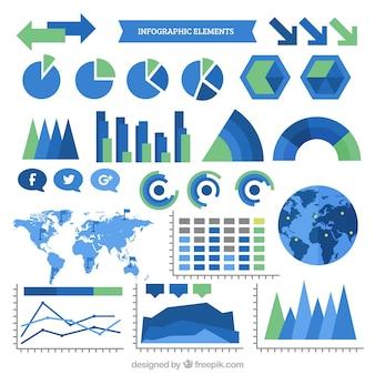 Elementos infographic azuis e verdes