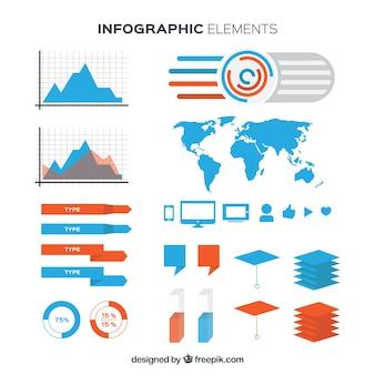 Elementos infographic azul e alaranjado