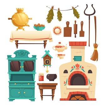 Elementos interiores da antiga cozinha russa com forno
