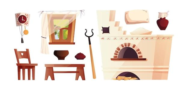 Elementos interiores da cabana russa, antigo fogão russo, relógio, bancada, janela com cortina