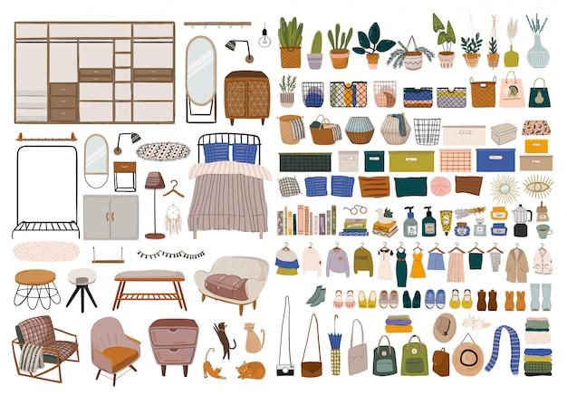 Elementos interiores do quarto escandinavo elegante