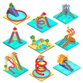 Elementos isométricos coloridos do parque aquático.