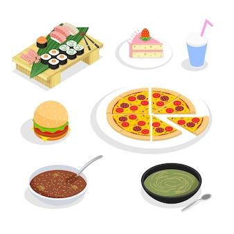 Elementos isométricos de alimentos. hambúrgueres e sushi, bolo e pizza.