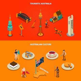 Elementos isométricos de atrações turísticas australianas