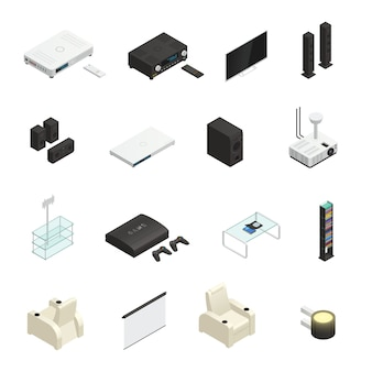 Elementos isométricos de cinema em casa