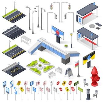 Elementos isométricos de construtor de rua da cidade