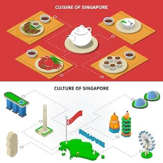 Elementos isométricos de cozinha de cultura de singapura