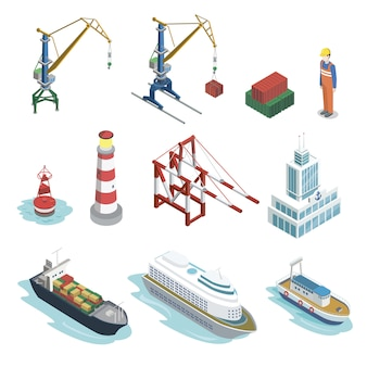 Elementos isométricos de logística de transporte marítimo