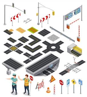 Elementos isométricos de seções da estrada