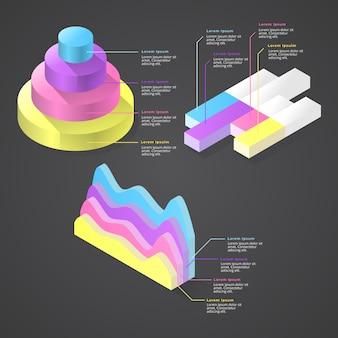 Elementos isométricos infográfico