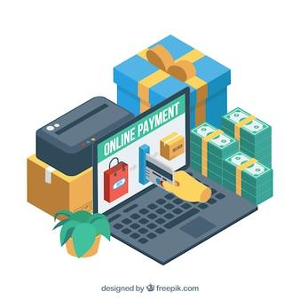 Elementos isométricos sobre o pagamento eletrônico