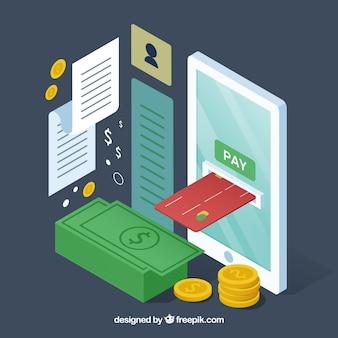 Elementos isométricos sobre o pagamento on-line