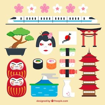 Elementos japoneses em design plano
