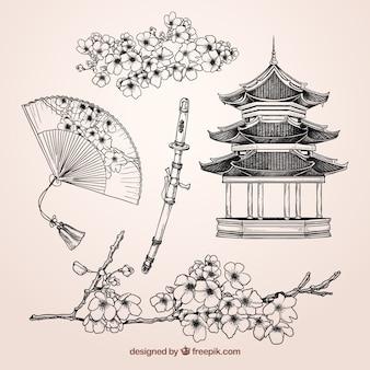 Elementos japoneses esboçado