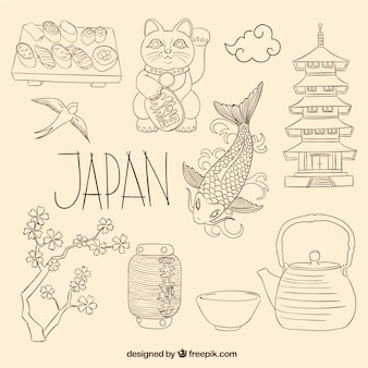 Elementos japoneses no estilo esboçado