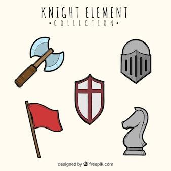 Elementos knight com estilo desenhado à mão