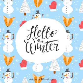Elementos, lettering, inverno, fundo