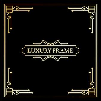 Elementos luxuosos em art déco antigos grandes bordas douradas emolduram divisórias e cabeçalhos de cantos
