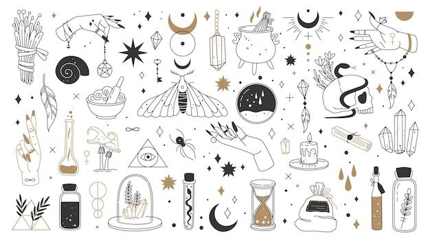Elementos mágicos de bruxa místico boho logotipo de bruxaria alquimia cartão de tarô ocultos símbolos mágicos esotéricos